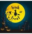 Halloween night background with pumpkin full moon vector image