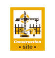 logo of the construction site big crane an vector image
