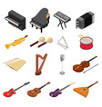 music instruments color icons set isometric view vector image