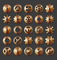 3d metal cogwheel set isolated on dark background vector image vector image