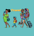 african family travelers mom dad and kids vector image