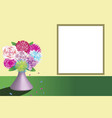 beautiful bouquet of colored flowers on the table vector image