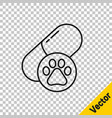 black line dog pill icon isolated on transparent vector image vector image