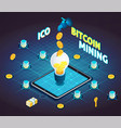 block chain cryptocurrency isometric flowchart vector image vector image