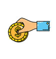 businessman hand with coin cash money vector image