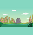 cartoon nature landscape with mountains and sky vector image vector image