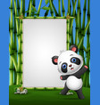 cartoon panda standing on a bamboo frame vector image vector image