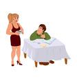 Cartoon wife serving dinner for husband vector image