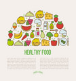 concept of organic food with thin line icons vector image vector image