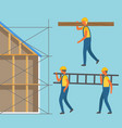 construction zone man with stairs and log vector image