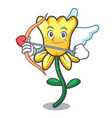 cupid daffodil flower character cartoon vector image