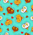 Cute cat hand drawn patch icon background vector image vector image