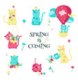 cute funny spring cats isolated vector image