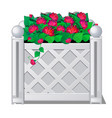 decorative fence with red flowers vector image vector image