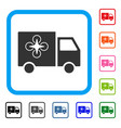 drone delivery van framed icon vector image vector image