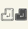 enter button line and glyph icon enter key vector image vector image