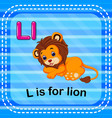 flashcard letter l is for lion vector image vector image