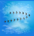 flock of swallows in blue sky with clouds birds vector image vector image