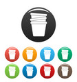 flowerpots icons set color vector image vector image