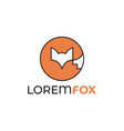 fox logo rounded linear fox icon on white vector image