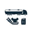 gasoline tanker truck engine fuel canister vector image vector image