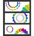 geometric rainbow pastel flowers business card se vector image vector image