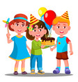 group of happy children celebrating birthday vector image vector image