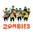 group of zombie cartoon characters vector image vector image