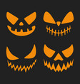 halloween pumpkins stencil template set isolated vector image