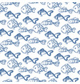 hand drawn ocean fish abstract pattern vector image
