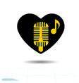 heart black is symbol retro microphone valentines vector image vector image