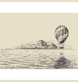 hot air balloon over the sea retro style vector image vector image
