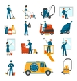 Industrial Cleaning Service Flat Icons Set vector image vector image
