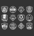 israel and judaism symbols jewish hanukkah vector image vector image