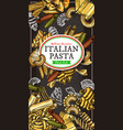 italian food banner with pasta and macaroni vector image vector image