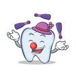 juggling tooth character cartoon style vector image vector image