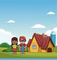 kids playing at park cartoons vector image