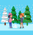 kids playing snowball fight in winter park vector image vector image