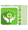 Medical Prosperity Icon and Medical Longshadow vector image