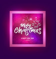 merry christmas with christmas tree lettering vector image vector image