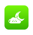 moon and cloud icon green vector image