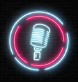 neon signboard with microphone in round frame vector image vector image