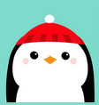 penguin head face red hat merry christmas happy vector image vector image