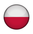 poland flag in glossy round button of icon poland vector image