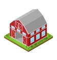 Red Farm House Isometric View vector image