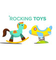 rocking toys horse plane child kid vector image