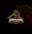 samurai mascot sport logo design vector image vector image