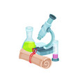 school related items microscope flasks with vector image