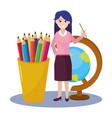 school woman teacher cartoon vector image