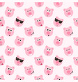 seamless pattern with cute pink pig faces vector image vector image